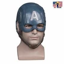 USA Captain America Helmet Costume Latex Cosplay Horror Scary Mask Halloween - $31.48