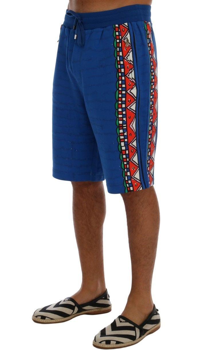 New $380 Dolce & Gabbana Men Blue Cotton Above Knees Casual Shorts It44-Xs