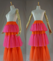 Womens Tiered Party Tulle Skirt Orange Pink Layered Mesh Tulle Party Prom Skirt image 5
