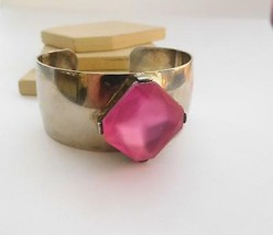 Retro Wide Chunky Industrial Mod Pink Stone Silver Plated Cuff Bracelet O22 - $17.84