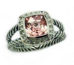 David Yurman Petite Albion Ring With Morganite and Diamonds Size 8 - $371.25