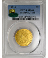1810 $5 Small Date, Tall 5 Capped Bust $5 PCGS MS64 CAC Gold Coin - £54,239.25 GBP