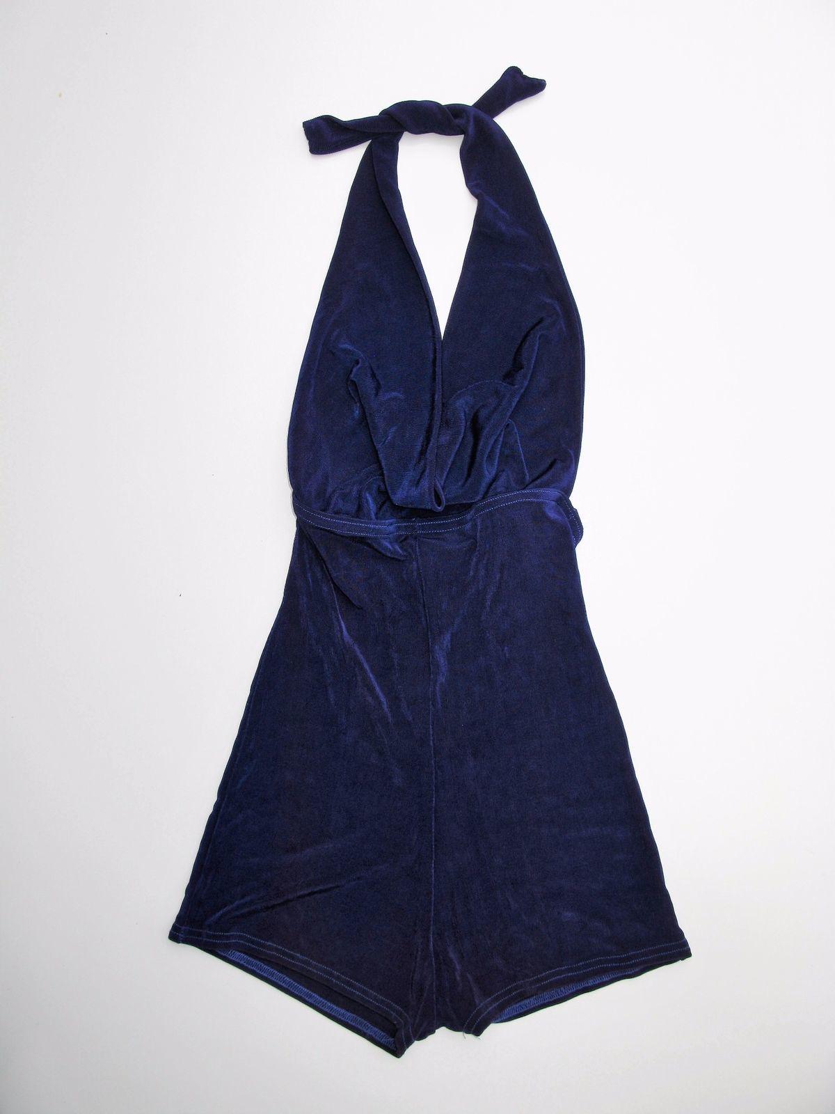 Romper Forplay Purple Slinky Jersey Draped BodyCon Halter NEW S/M NWT $49