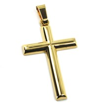 18K YELLOW GOLD CROSS, ROUNDED BIG 39mm, 1.54 inches, SMOOTH, MADE IN ITALY image 1