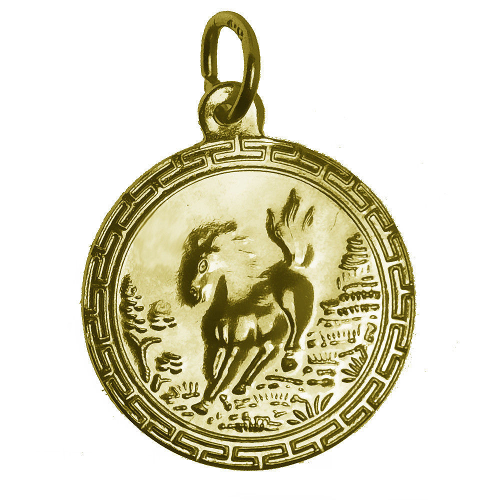 NICE 24K Gold Plated Zodiac Charm round Year of the Horse Very Detailed Jewelry