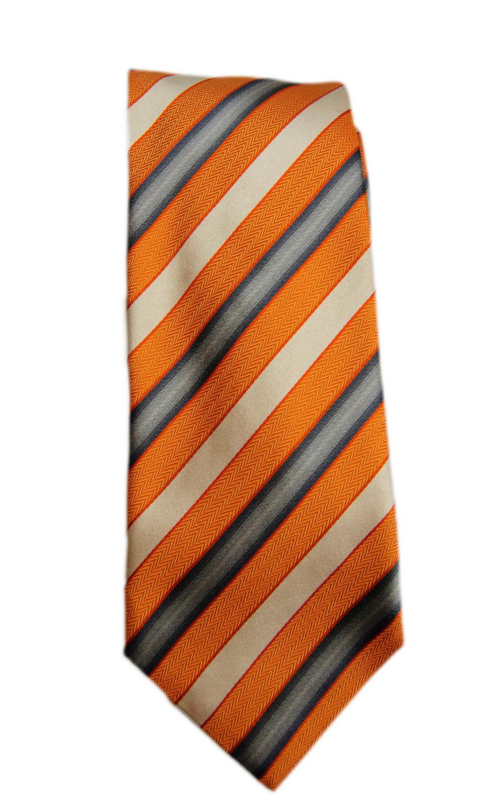 Vintage Orange Striped Ermenegildo Zegna 100% Silk Tie - $62.03