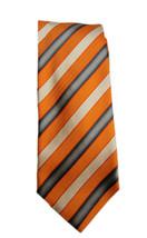 Vintage Orange Striped Ermenegildo Zegna 100% Silk Tie - $63.31