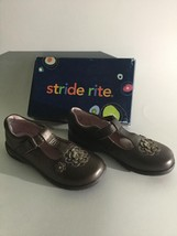 NEW STRIDE RITE Girls Larissa Brown Leather T-Strap Velco  Shoes (Size 1M) - $19.95