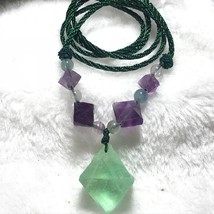 FLUORITE Octahedron Collection Natural Crystals Specimens Necklace J052824 - $9.89