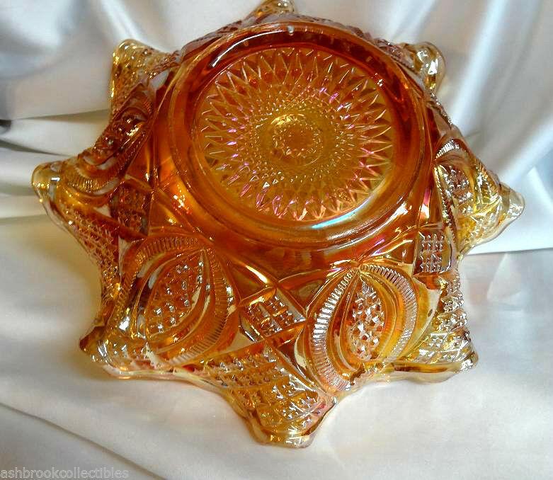 Vintage Imperial Glass Marigold Carnival Diamond Wedding Ring Fruit Ruffled Bowl