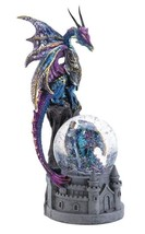 """DRAGON CASTLE GLITTERING SNOW GLOBE 8"""" Statue - $21.30"""