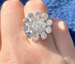 Women Silver Fashion Ring Adjustable band Flower Rhinestone FITS ALL Jew... - $30.68