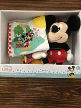Disney Mickey Mouse Plush Stroller Crib Attach Book Gift Set NIB - $11.87