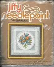 Vintage Jiffy Needlepoint Kit #5236 Lace Nosegay Blue - NIP - $11.88