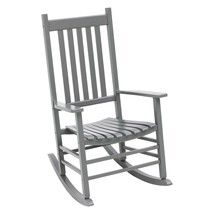 Outdoor Porch Rocking Chair Farmhouse Gray Finish Wood Wooden Patio Rock... - $135.13