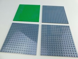 "Lot of 4 LEGO Grey & Green 16x16 Peg Plate 91405/6004927 baseplates  5"" ... - $14.84"