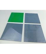 "Lot of 4 LEGO Grey & Green 16x16 Peg Plate 91405/6004927 baseplates  5"" ... - $14.84"