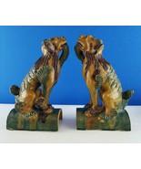 2 Vintage Chinese Glazed Ceramic Foo Dog Roof Tiles - $741.51