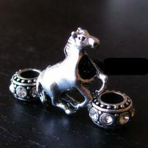 Mustang Horse Charm and Rhinestone Birthstone Beads for European Charm B... - $17.82