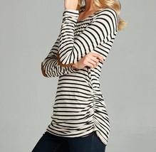 Oatmeal Striped Top, Black Striped Shirt, Shirred Striped Top, Hailey, Womens