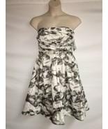 Oleg Cassini Dress Womens Size 10 Strapless Gray Ivory NWT $148 - $87.08