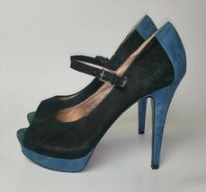"BCBG Paris 5"" High Dress Heel Peep Toe Stiletto Suede Blue Black Sz 6.5 Platform - $33.69"
