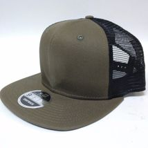 New Era 9FIFTY Snapback Trucker Cap Blank Olive Green Black Army Militar... - $14.99
