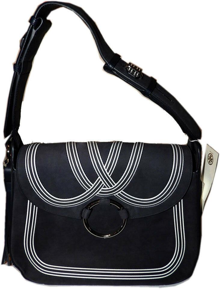 Tory Burch Blue Tassel Large Shoulder Bag Purse Satchel image 2