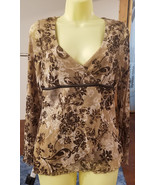 brown floral sheer top blouse womens long sleeves flowers shirt sz mediu... - $3.99