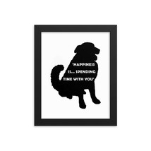 Dog Black Silhouette Framed Print, Pet Silhouette, Pet Portrait, Dog Wal... - $59.99