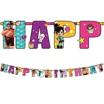 Wreck It Ralph Breaks The Internet Jumbo Add an Age Happy Birthday Banner New - $9.16