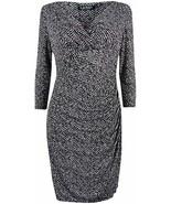 Lauren Ralph Lauren Printed 2 Sheath Ruched Dress Black White , 14 - $51.48