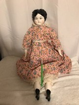 "Large 27"" Vintage Hand Painted Porcelain Doll With Stuffed Body - $84.15"