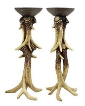 Ebros Wildlife Rustic Buck Elk Deer Stag Entwined Antlers Candle Holder Stand 14 - $67.99