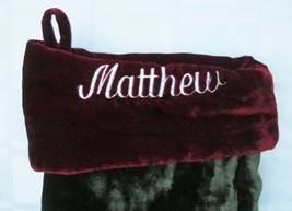 POTTERY BARN MATTHEW Personalized CHRISTMAS STOCKING PLUSH VELVET 23 inc... - $15.20