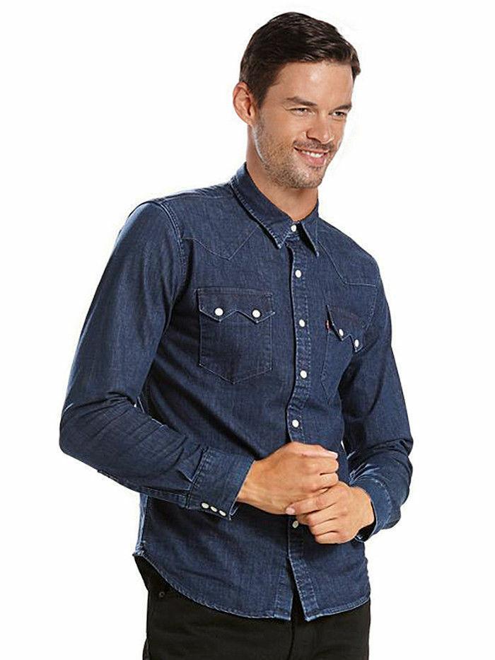 Levi's Men's Pearl Snap Barstow Western Casual Denim Dress Shirt 658190099