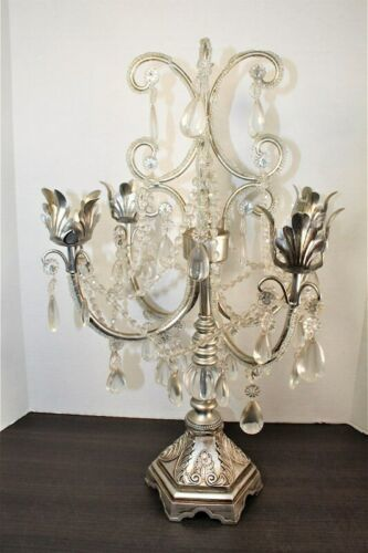 Dining Table Top Centerpiece Candle Holder Silver Chandelier Glass Tear Drops