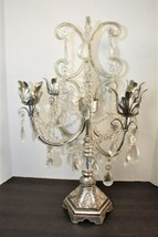 Dining Table Top Centerpiece Candle Holder Silver Chandelier Glass Tear Drops image 1