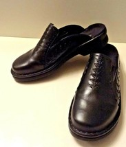 Clarks black clogs leather slip on shoes 7M top stitched mules size 7 me... - $35.99