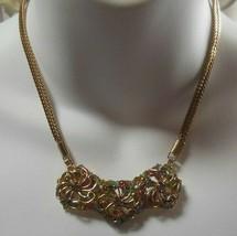 Vintage Gold-tone Multi-color Rhinestone Pinwheel Collar Necklace - $54.45