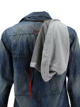 Men's Distressed Vintage Woven Hooded Denim Jean Cobain Shirt Jacket image 3