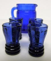 "Mosser Child's Juice Set (pitcher, 4 tumblers) - Cobalt - ""Jennifer"" pattern - $60.00"