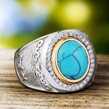 Heavy SOLID STERLING SILVER with Natural Turquoise Gemstone Men's Vintag... - €72,44 EUR
