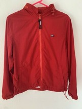Tommy Hilfiger Kids Medium Red Lightweight Jacket with Storable Hood Windbreaker - $27.81