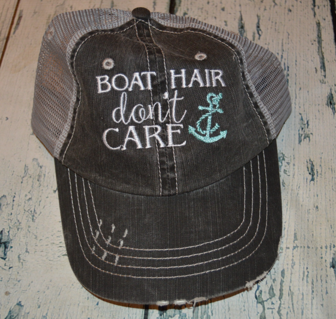 Primary image for Boat Hair Don't Care Womens Distressed Trucker Hat with Anchor assorted Colors