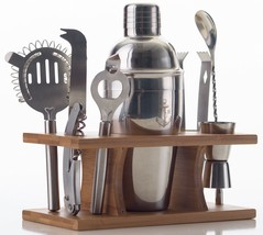 Bartender Set Bamboo Base 9pc Stainless Steel Shaker Jigger Corkscrew St... - €45,84 EUR