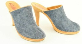 Womens Michael Kors Wooden Chunky Heel Clogs Mules Sz.9  Blue Denim Slid... - $120.94