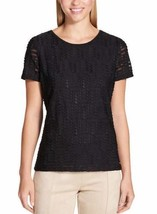 NWT, Calvin Klein Ladies' Stretch Textured Tee, Ribbon Pattern, Black, S... - $15.99