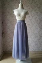 Gray Full Long Pleated Skirt Women High Waisted Gray Pleated Tulle Maxi Skirt  image 3