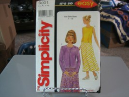 Simplicity 9001 Girl's Top, Jacket & Skirt Pattern - Size 7 & 8 - $6.92